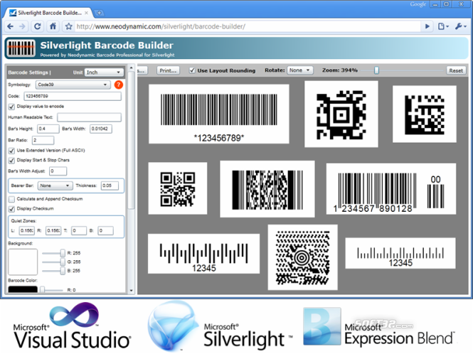 Silverlight Barcode Professional Screenshot 3