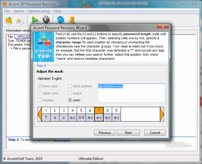Accent ZIP Password Recovery Screenshot 3