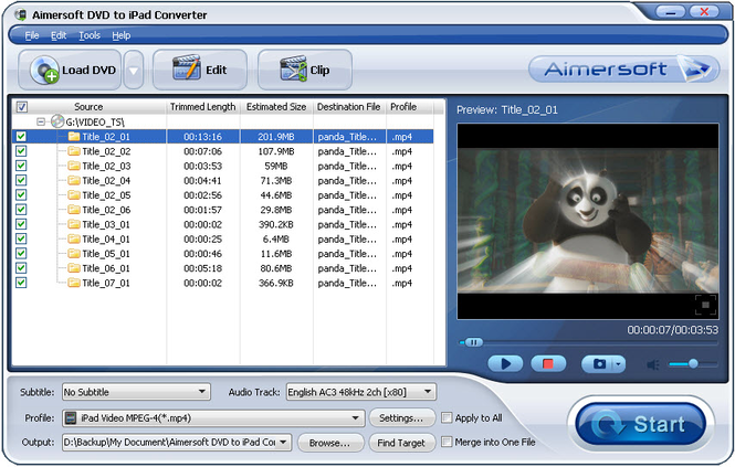 Aimersoft DVD to iPad Converter Screenshot