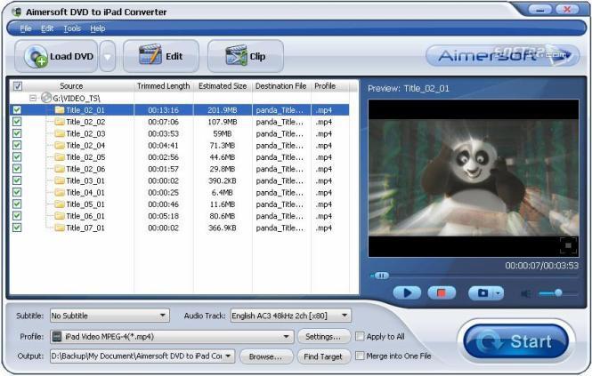 Aimersoft DVD to iPad Converter Screenshot 3