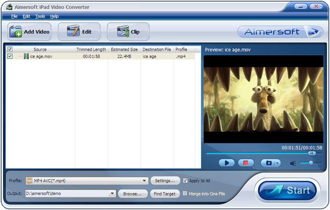 Aimersoft iPad Video Converter Screenshot