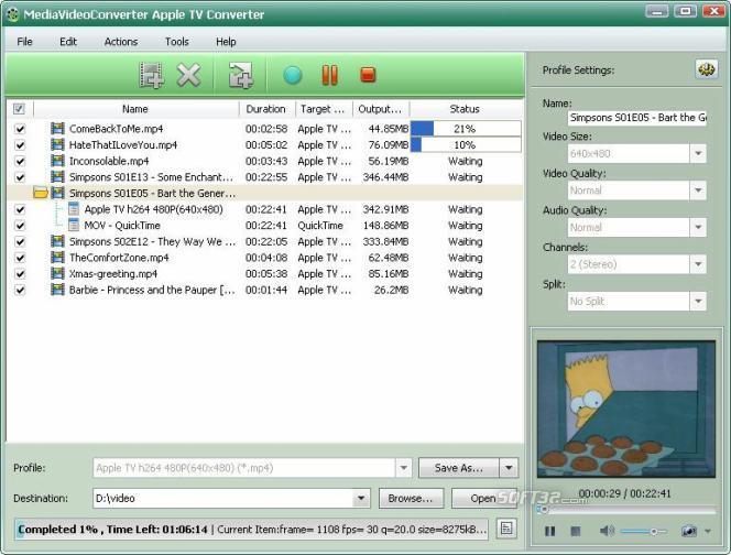 mediAvatar Apple TV Converter Screenshot 3