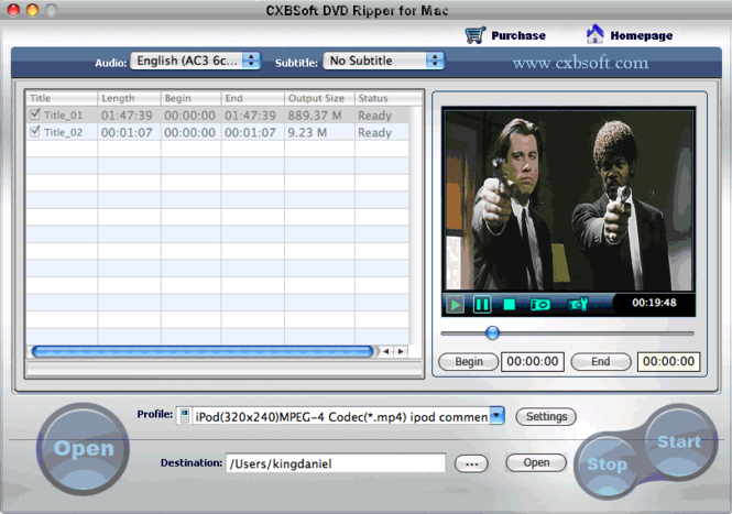 CXBSoft DVD Ripper for Mac Screenshot