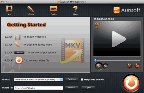 Aunsoft MKV Converter for Mac Screenshot