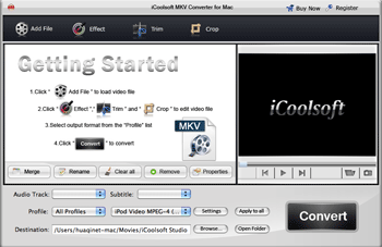 iCoolsoft MKV Converter for Mac Screenshot