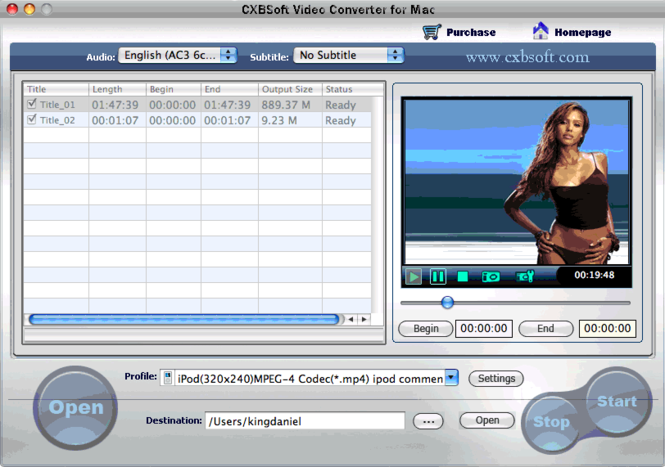CXBSoft Video Converter for Mac Screenshot