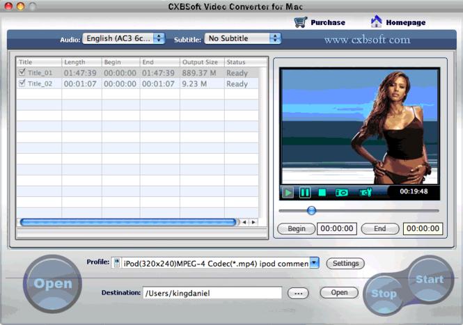 CXBSoft Video Converter for Mac Screenshot 1