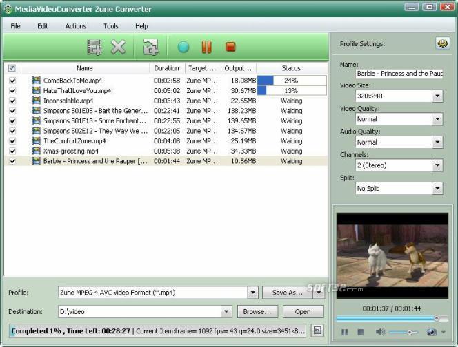mediAvatar Zune Converter Screenshot 2