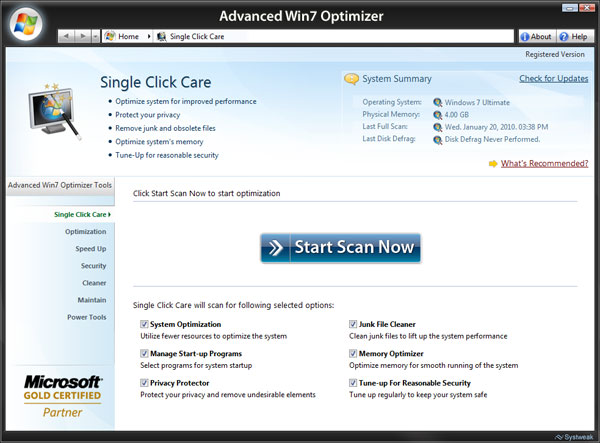 Advanced Win7 Optimizer Screenshot