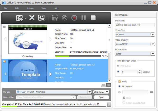 Xilisoft PowerPoint to MP4 Converter Screenshot