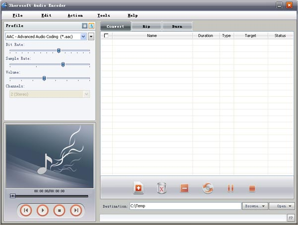 3herosoft Audio Encoder Screenshot