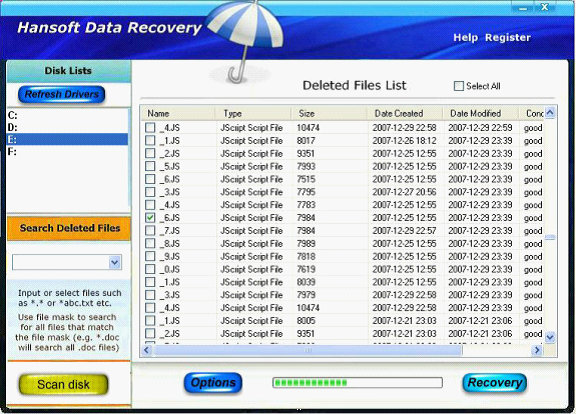 Hansoft Data Recovery Screenshot