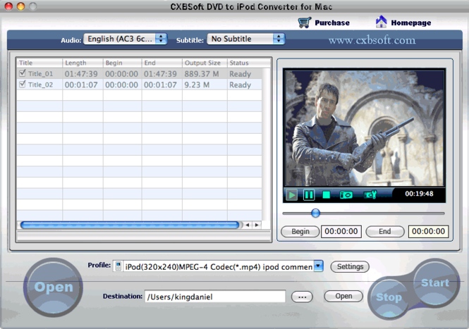 CXBSoft DVD To iPod Converter for Mac Screenshot 1