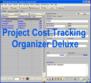 Project Cost Tracking Organizer Deluxe Screenshot 1