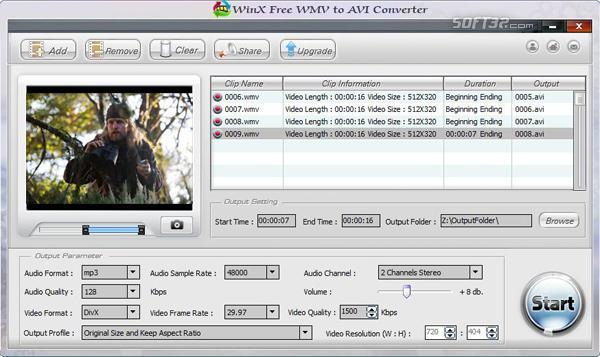 WinX Free WMV to AVI Converter Screenshot 3