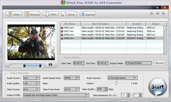 WinX Free WMV to AVI Converter Screenshot