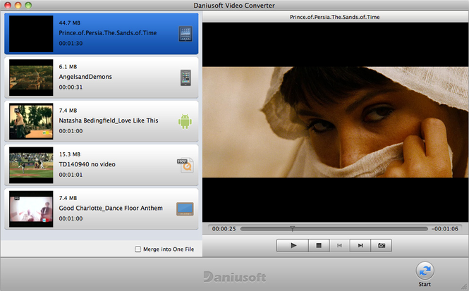 Daniusoft Video Converter for Mac Screenshot 1