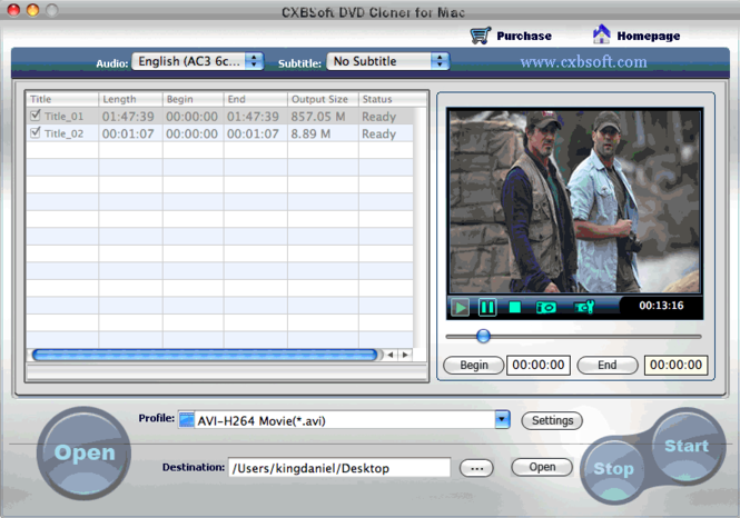 CXBSoft DVD Clonver for Mac Screenshot