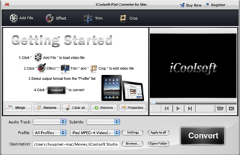 iCoolsoft iPad Converter for Mac Screenshot 1