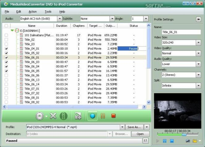 mediAvatar DVD to iPod Converter Screenshot