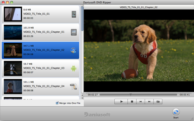 Daniusoft DVD Ripper for Mac Screenshot