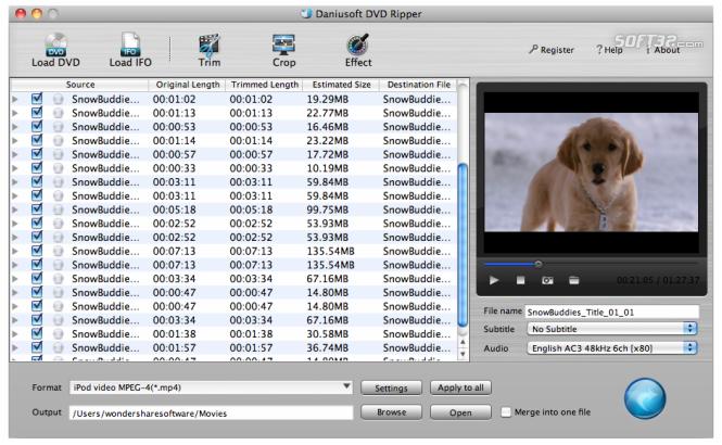Daniusoft DVD Ripper for Mac Screenshot 2