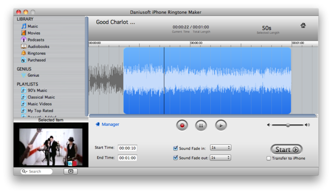 Daniusoft iPhone Ringtone Maker for Mac Screenshot