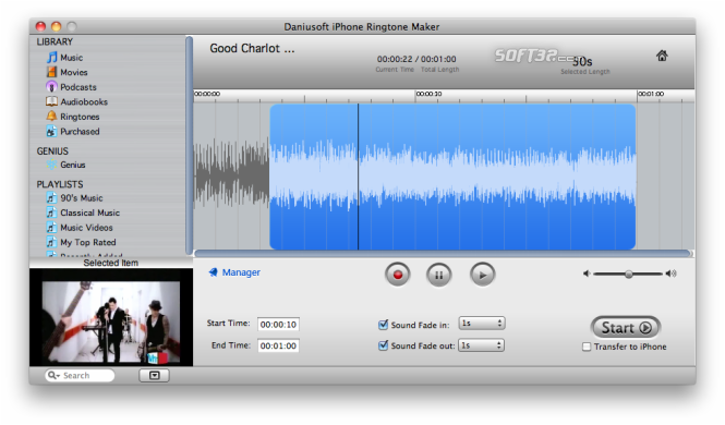 Daniusoft iPhone Ringtone Maker for Mac Screenshot 2