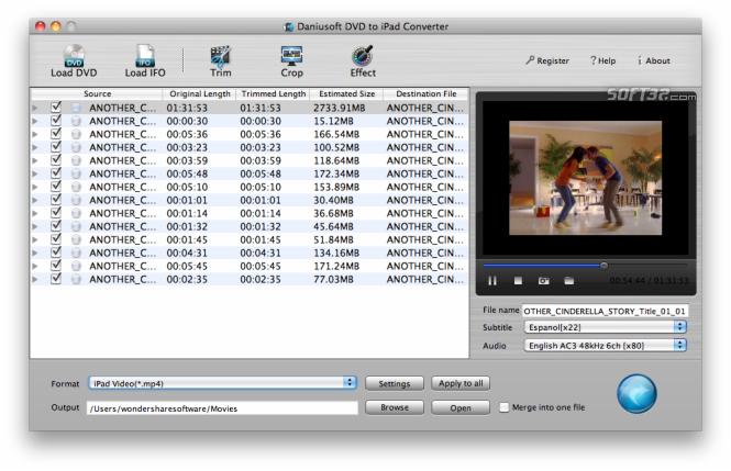 Daniusoft DVD to iPad Converter for Mac Screenshot 2