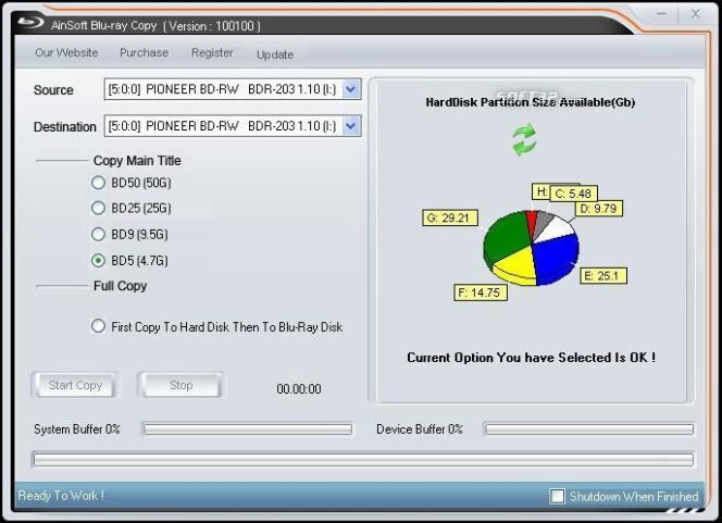 AinSoft Blu-ray Copy Screenshot 2