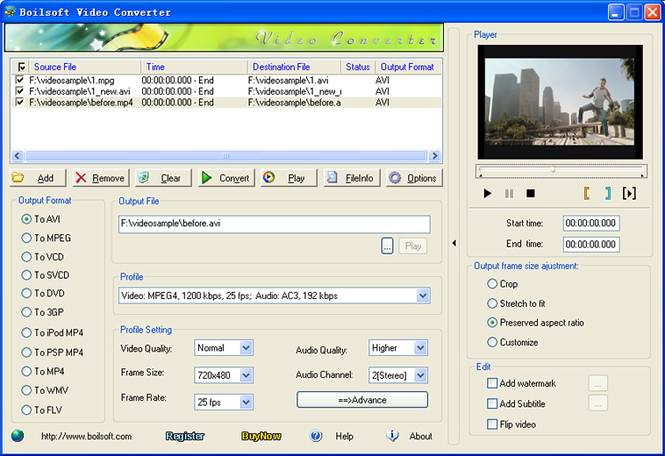 Boilsoft PSP Video Converter Screenshot