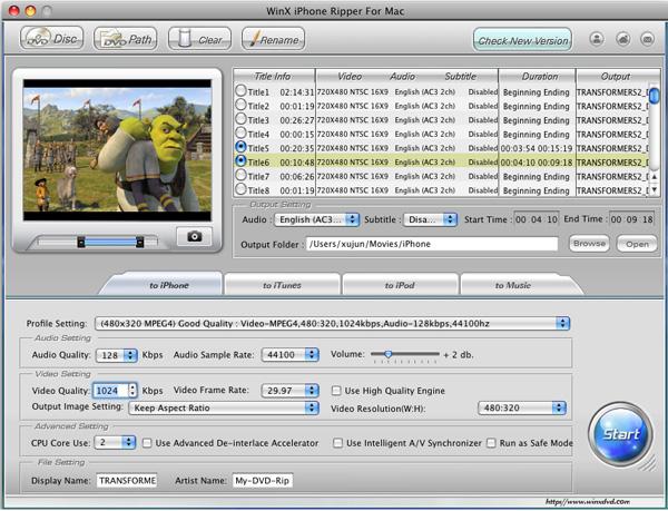 WinX iPhone Ripper for Mac Screenshot 1