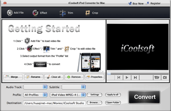 iCoolsoft iPod Converter for Mac Screenshot