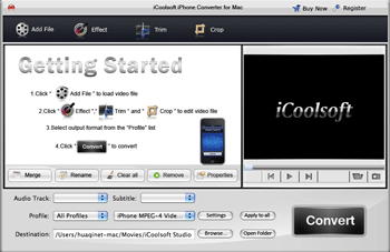 iCoolsoft iPhone Converter for Mac Screenshot