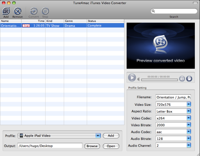 Tune4Mac iTunes Video Converter Screenshot