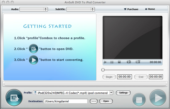 Ainsoft DVD to iPod Converter for Mac Screenshot