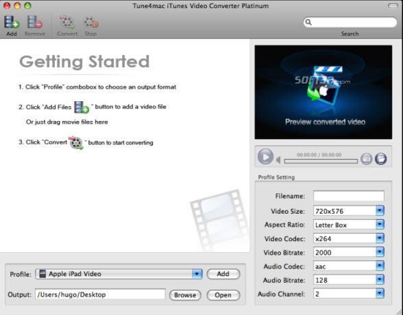 Tune4Mac iTunes Video Converter Platinum Screenshot 2