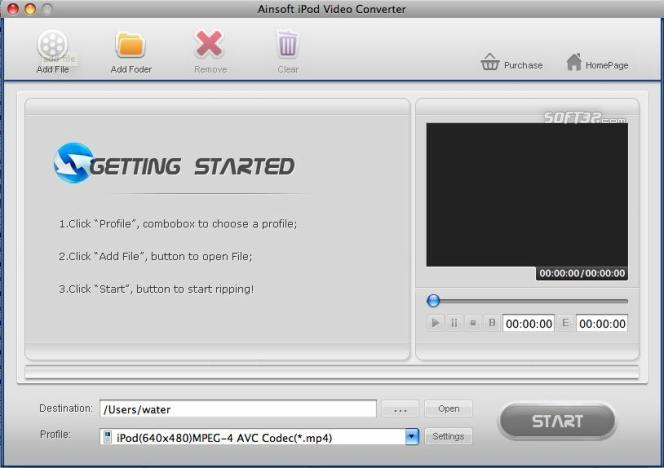 Ainsoft iPod Video Converter for Mac Screenshot 2