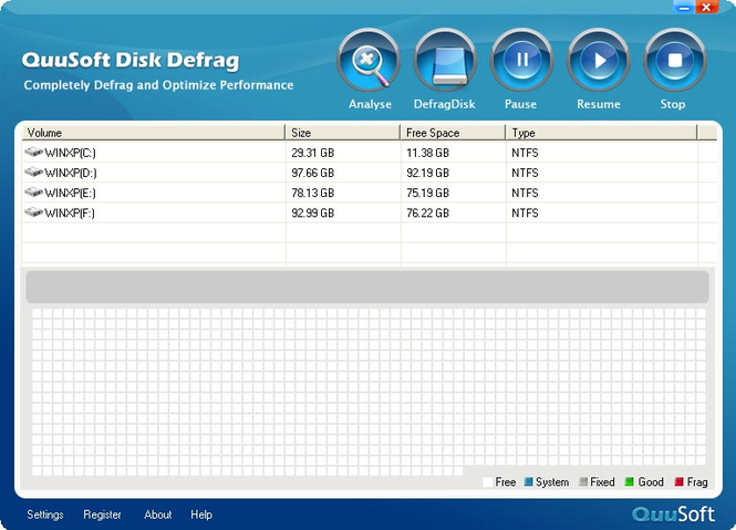 QuuSoft Disk Defrag Screenshot