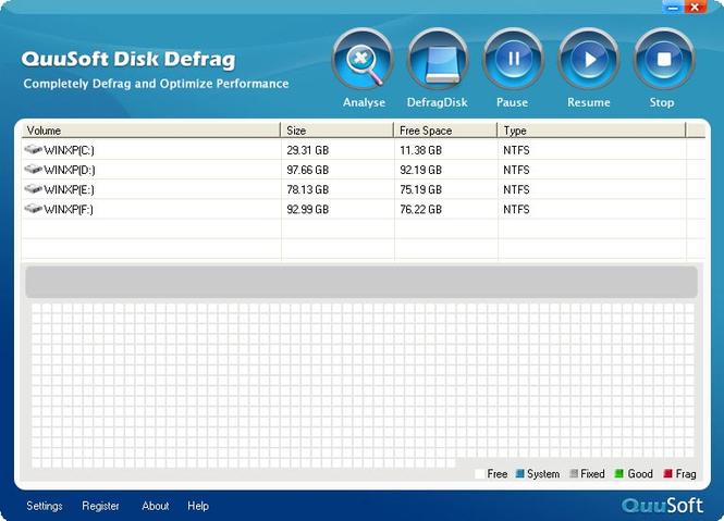 QuuSoft Disk Defrag Screenshot 1