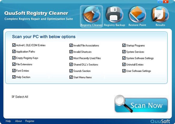 QuuSoft Registry Cleaner Screenshot