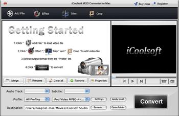 iCoolsoft MOD Converter for Mac Screenshot 1