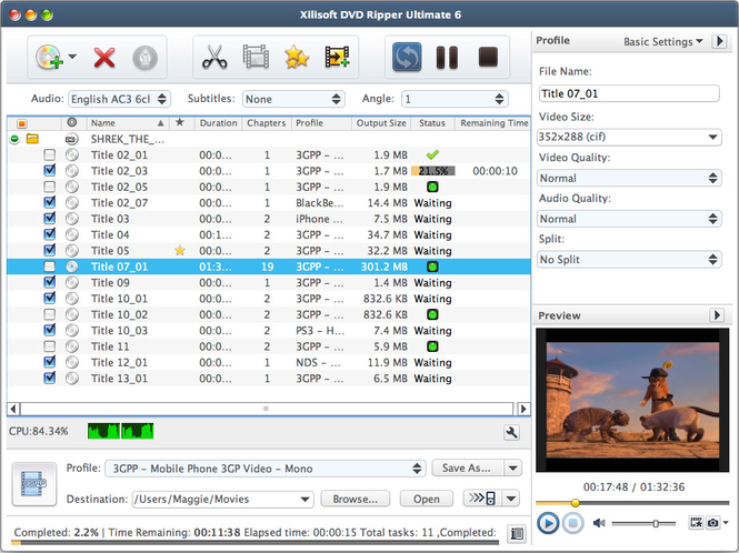 Xilisoft DVD Ripper Standard 6 for Mac Screenshot