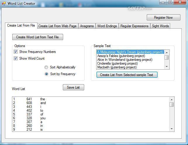 Word List Creator Screenshot 3