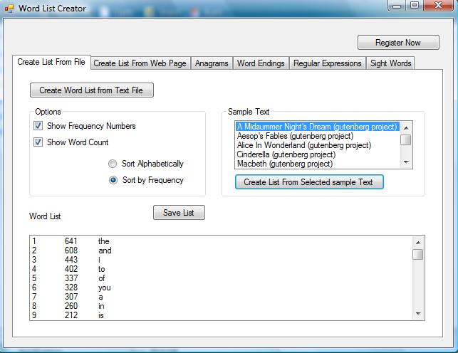 Word List Creator Screenshot