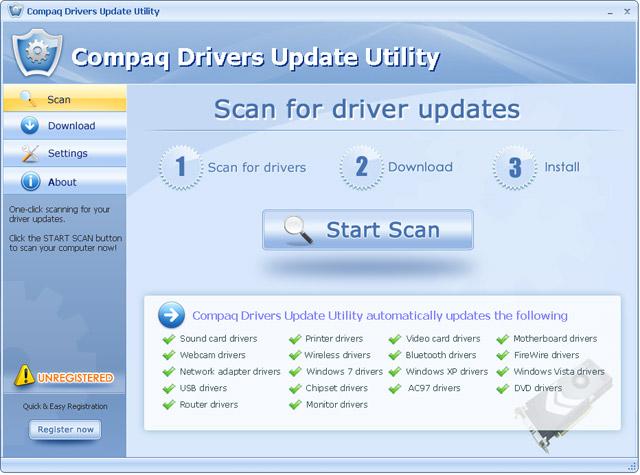 Compaq Drivers Update Utility Screenshot