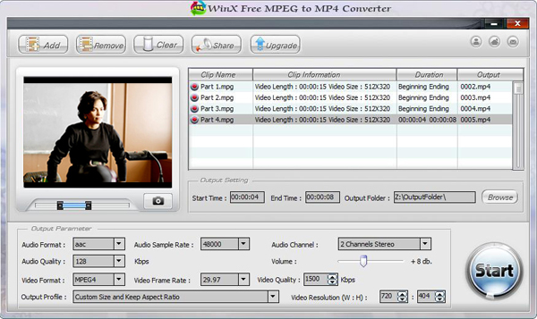 WinX Free MPEG to MP4 Converter Screenshot