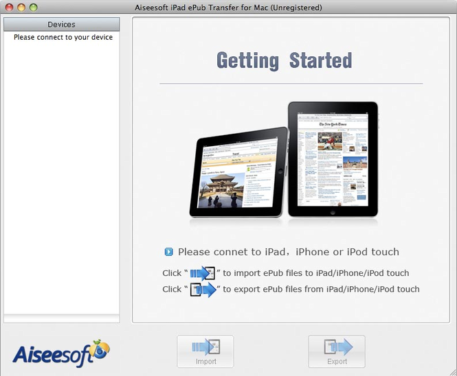 Aiseesoft iPad ePub Transfer for Mac Screenshot