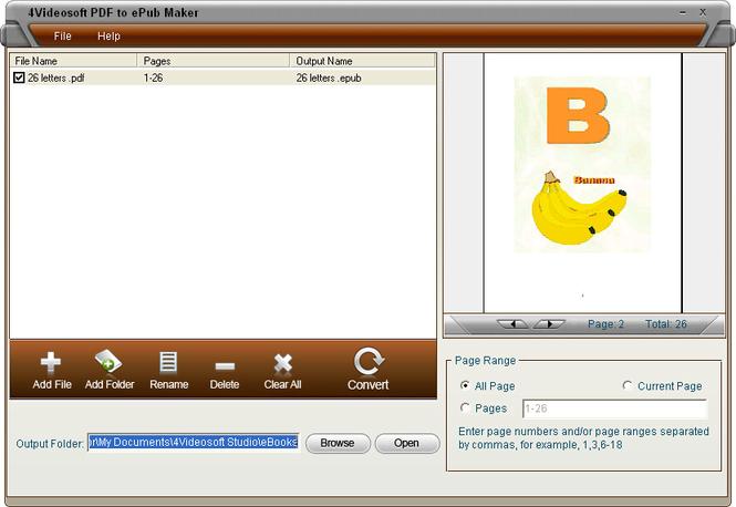 4Videosoft PDF to ePub Maker Screenshot 3