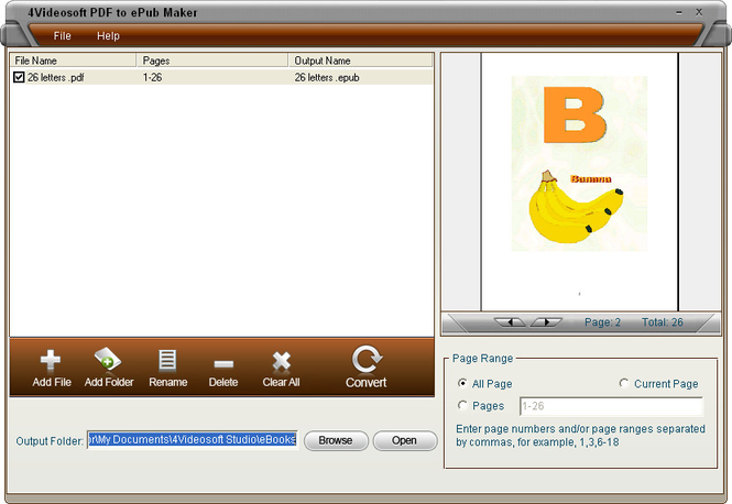 4Videosoft PDF to ePub Maker Screenshot